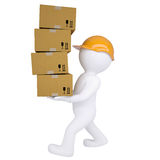 3d man carries boxes. Isolated render on white background Royalty Free Stock Photo