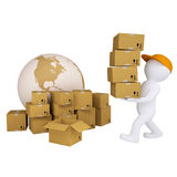 3d man carries boxes. Isolated render on white background Royalty Free Stock Images