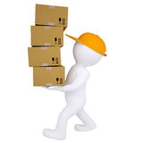 3d man carries boxes. Isolated render on white background Royalty Free Stock Photos