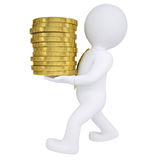 3d man carries a gold coin Royalty Free Stock Image