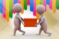 3d man carry box  illustration Stock Images