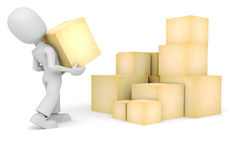 3d man carrying a box Royalty Free Stock Photos