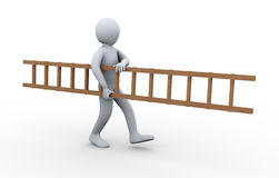 3d man carrying ladder. 3d illustration of person carrying ladder.  3d rendering of human character Stock Photography