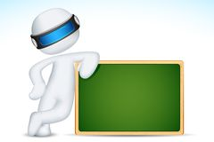 3d Man with Chalk Board Stock Photography
