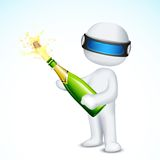 3d Man with Champagne Bottle. Illustration of 3d man in vector fully scalable opening champagne cork Royalty Free Stock Image