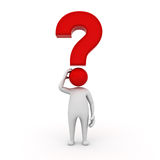 3d man character with red question mark. On white background Royalty Free Stock Photography