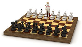 3d man on chess board as king Stock Photo