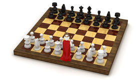 3d man on chess board as king Stock Images