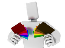 3D Man chooses the colored cards Royalty Free Stock Photo
