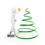 3d man christmas tree gold star. Isolated white background Stock Photos