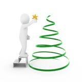 3d man christmas tree gold star Stock Photos