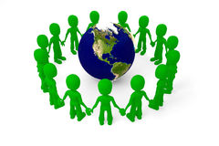 3d man in a circle holding their hands Royalty Free Stock Images