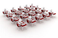 3d man in classroom, exam test Royalty Free Stock Photos