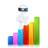 3d Man climbing Bar Graph Stock Images