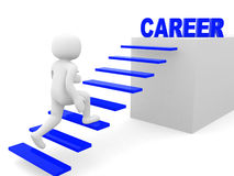 3d man climbs the ladder of career. 3d render Royalty Free Stock Photos