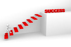 3d man climbs the ladder of success. 3d render Royalty Free Stock Image