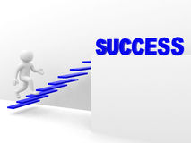 3d man climbs the ladder of success Stock Images