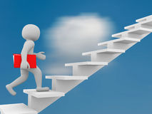 3d man climbs the ladder of success and a virtual career. 3d illustration Stock Images