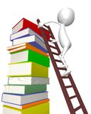 3d Man Climbs The Stairs - Books Royalty Free Stock Photos