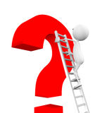 3d man climbs up the stairs on the question mark. 3d man climbs up the stairs on the question mark on a white background Stock Images