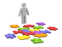 3d man collect puzzle. Stock Photo