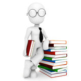 3d man and colorful books Stock Photo