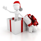 3d man coming out from a present box Stock Image