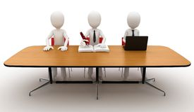 3d man at contest jury table Royalty Free Stock Image