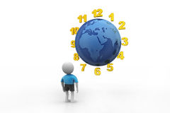 3d man counting earth hours Stock Photography