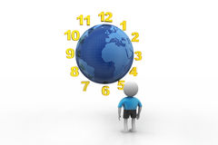 3d man counting earth hours Royalty Free Stock Image