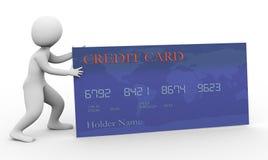 3d man and credit card. 3d man pushing credit card Stock Image