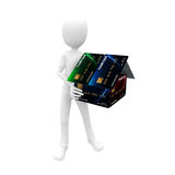 3d man with credit card house Royalty Free Stock Photos