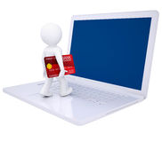 3d man with credit card makes online shopping. Isolated render on a white background Stock Images