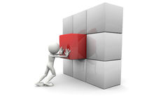3d man and a cubed wall. 3d image: man and a cubed wall Royalty Free Stock Photo