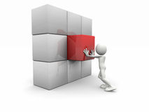 3d man and a cubed wall Royalty Free Stock Images