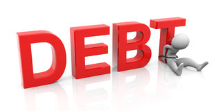 3d man and debt Stock Images