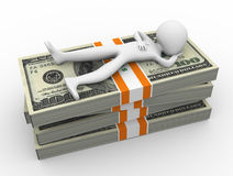 3d man debt relief. 3d man relaxing on the top of dollar stack. Concept of relief from debt Royalty Free Stock Photo