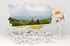 3d man demolishing a wall Stock Images