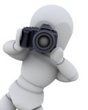 3D man with digital camera Stock Photo