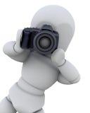 3D man with digital camera Stock Photo