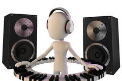3d man DJ Royalty Free Stock Photo