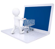 3d Man Doing Online Shopping Stock Photography