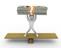 3d man dollar balancing Royalty Free Stock Images