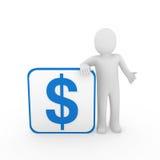 3d man dollar box. 3d human man dollar blue finance money currency Royalty Free Stock Images