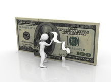 3d man with dollar puzzle Royalty Free Stock Photos