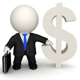 3D man with dollar sign Royalty Free Stock Image