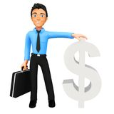 3D man with dollar sign Royalty Free Stock Photo