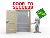3d man and door to success. 3d render of man holding believe in yourself roadsign standing with open door having stairs for success.  3d illustration of human Stock Photos