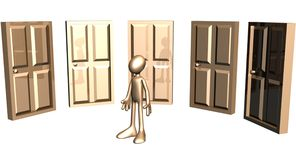 3D man before doors Royalty Free Stock Image