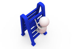3d man with double ladder concept Royalty Free Stock Photo